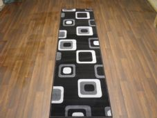 New Modern Runner 60x220cm Aprox 8ft Black Grey Squares non slip easy clean